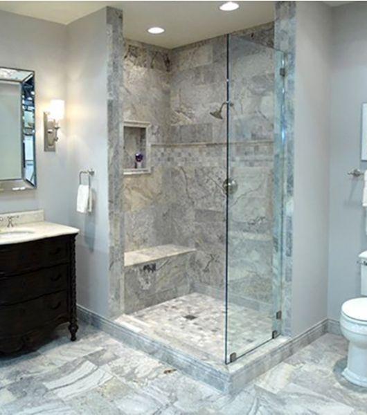 Silver Travertine Tile Washroom Area