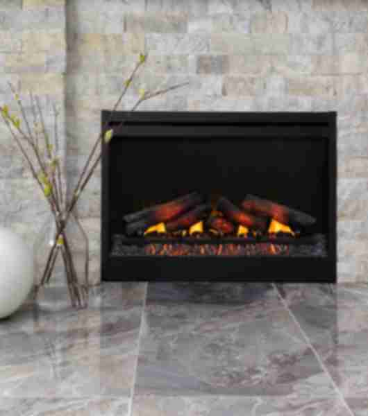 Textured grey and tan travertine stacked stone fireplace and marble-look floor.