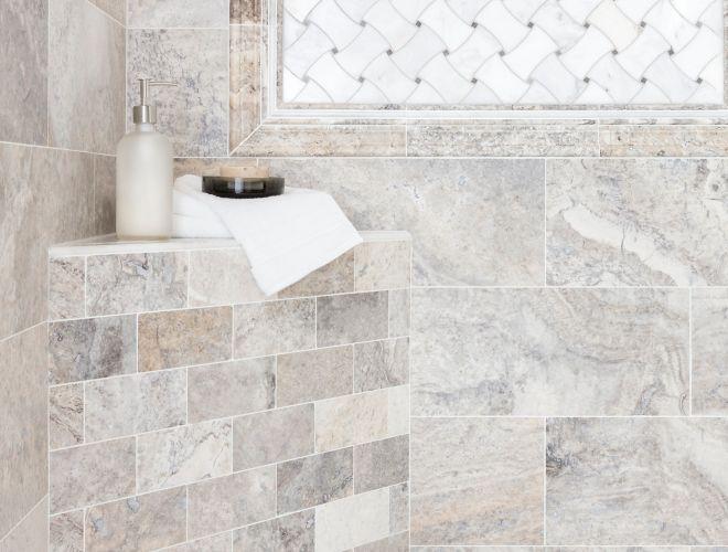 travertine grey marbled tile bathroom