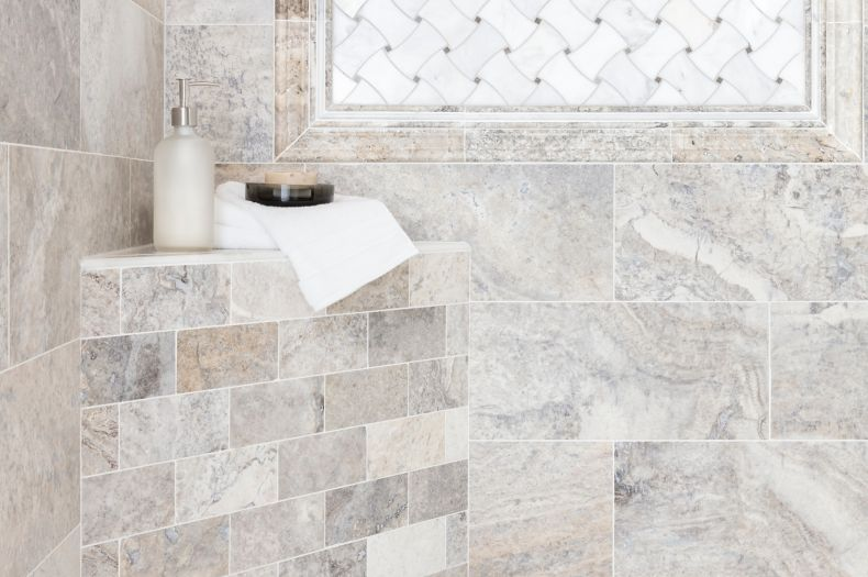 travertine grey marbled tile bathroom