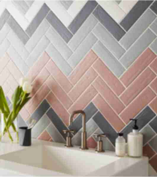 colorful subway tile bathroom