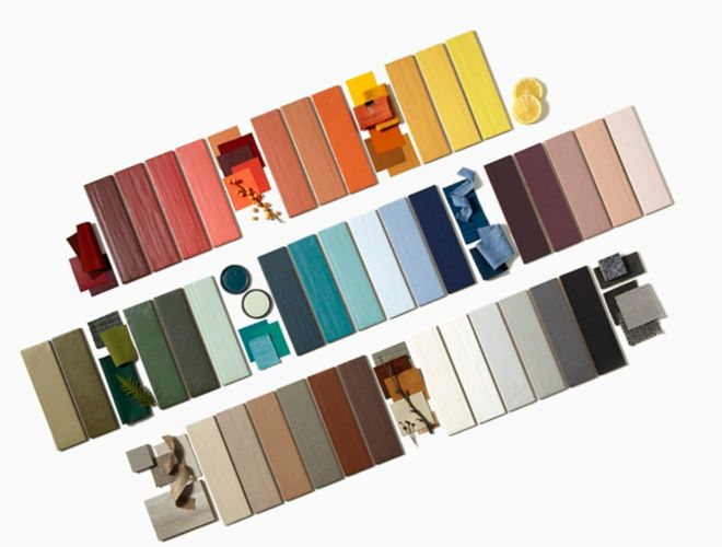 Full spectrum of colorful subway tile.