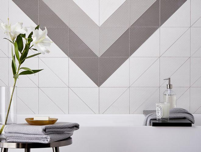 Geometric tile bathroom.