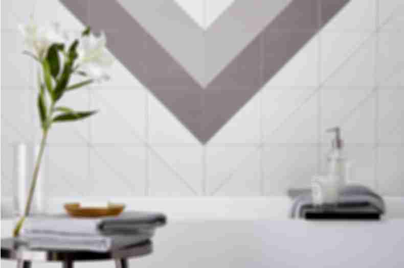 Geometric tile bathroom.