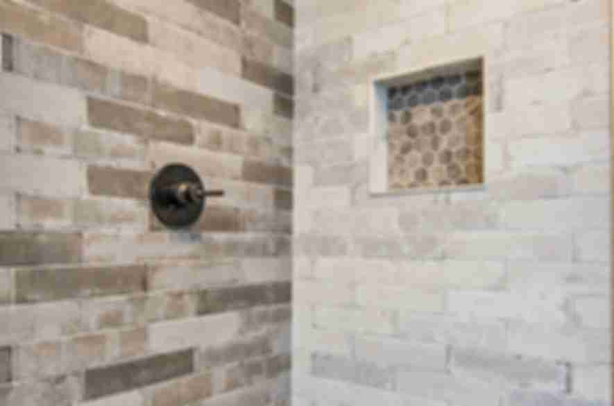 bathroom wall and floor hexagon tiles.