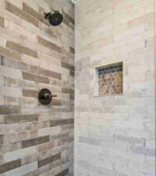 Light and Dark Brown Hex Tile Shower