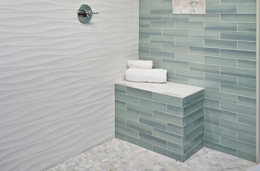 Bathroom Tile Designs Trends Ideas The Tile Shop - Green-glass-bathroom-tile