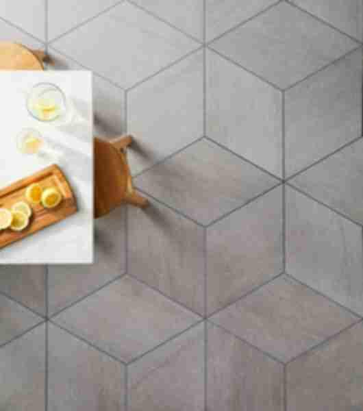 Diamond Pattern Tile Kitchen Floor