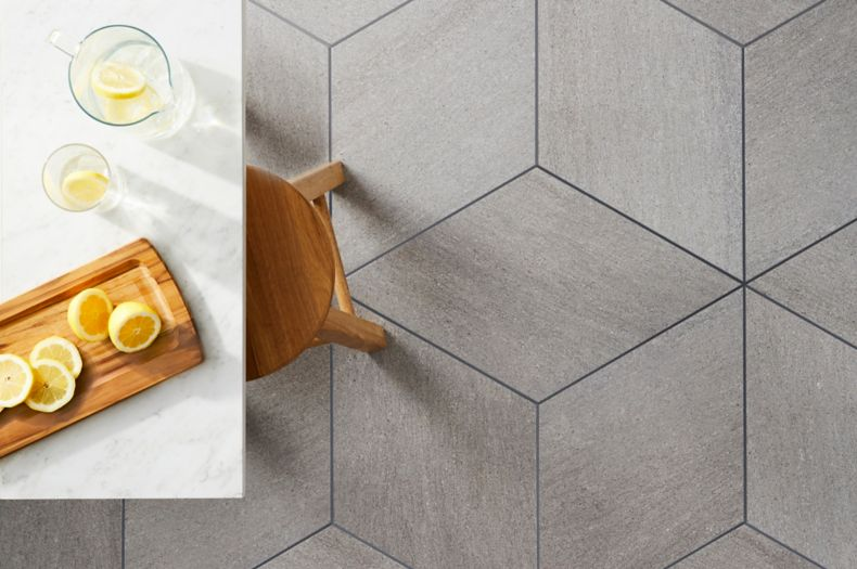 Grey Three Dimensional Cube Illusion Patterned Tile Contemporary Dining Area