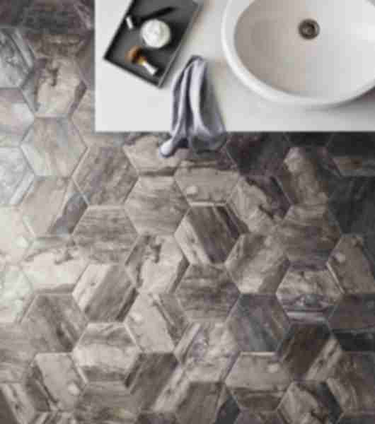 Rustic bathroom with wood look, hexagon floor tile.
