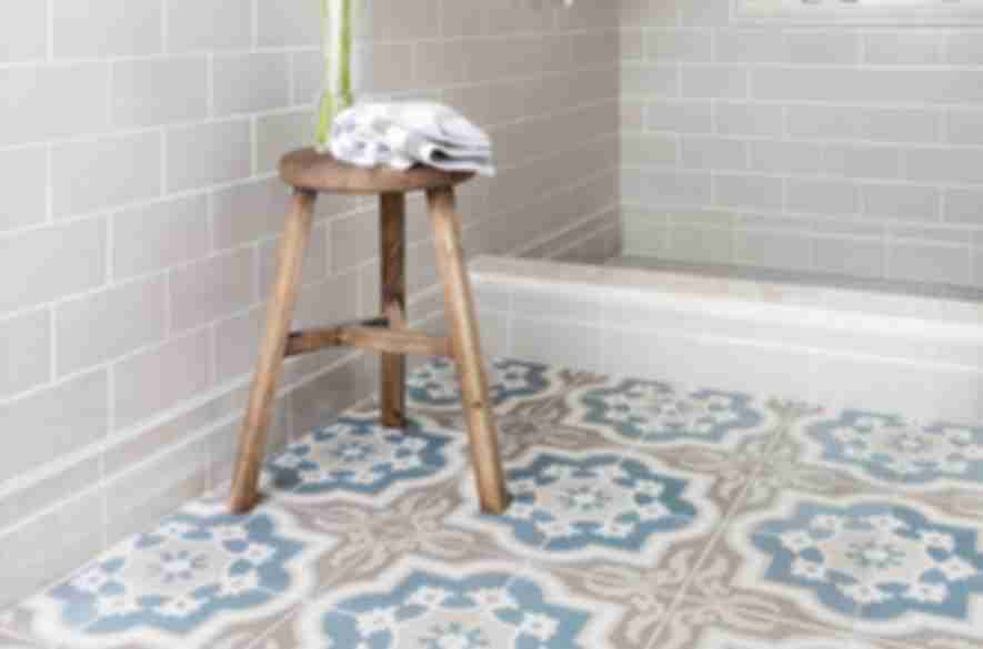 patterned bathroom floor tiles.