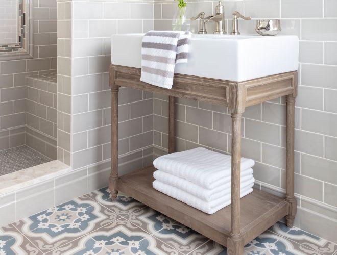Modern Farmhouse Bathroom With Subway Wall Tile And Brown Blue Encaustic Floor