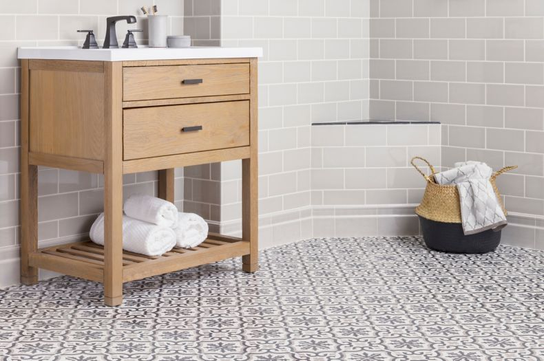 Patterned Encaustic Patterned Tile Bathroom