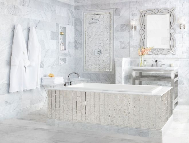 Firenze Charlotte White and Grey Marble Tile Bathroom multi wall