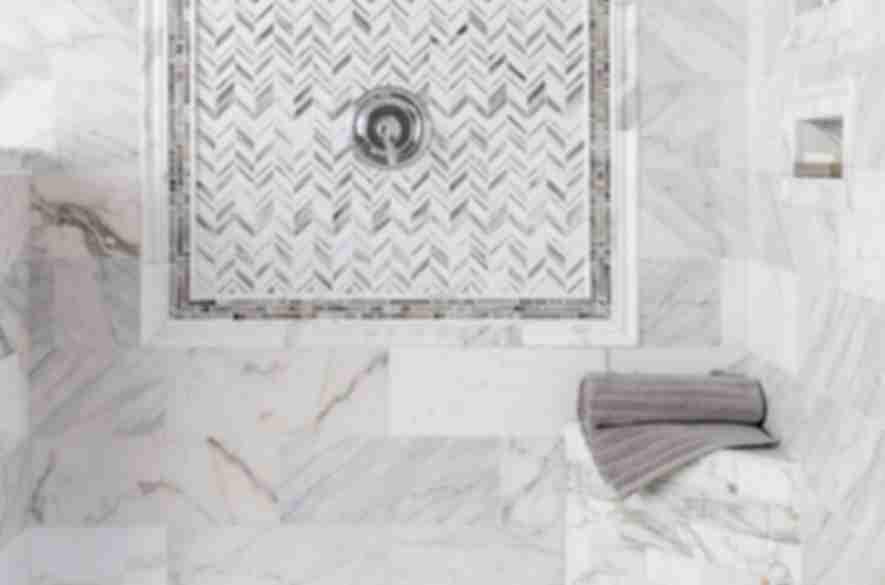 bathroom white mosaic tiles.