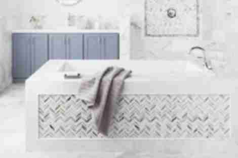 Marble mosaic tile bathroom area.