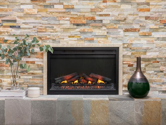 Fireplace with multi-color architectural quartzite tile.