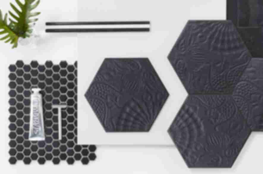 Assortment of black hexagon tile.