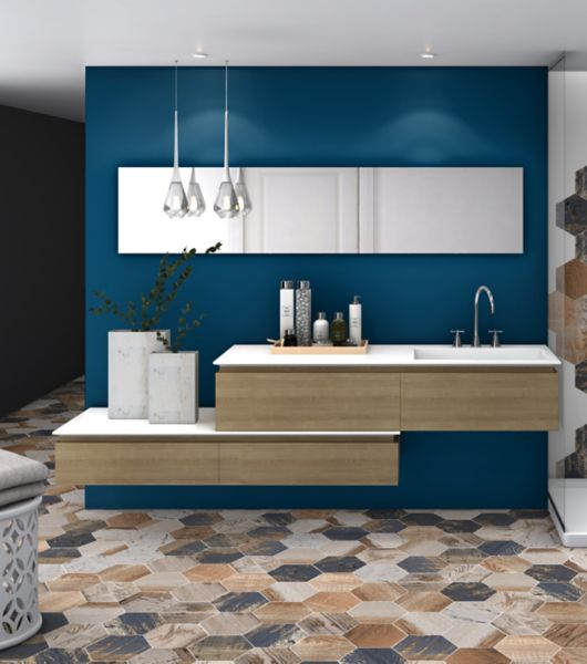 Brown and Blue Mixed Hexagon Tile Modern Shower Area