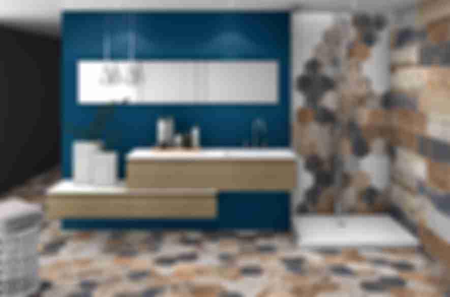 bathroom shower multiple color hexagon tiles.