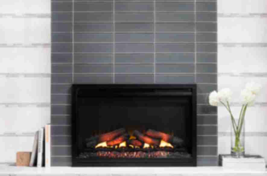 grey stove tiles in living room.