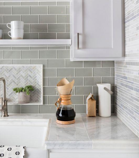 Grey Patterned Glass Tile Kitchen Sink Area