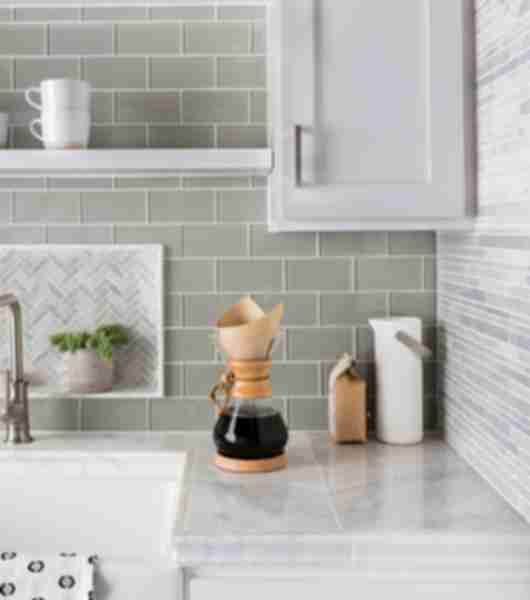 Grey Patterned Glass Tile Kitchen Sink Area