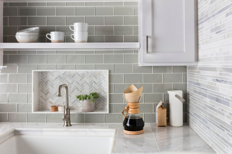 Light Green Wall Tile With Marble Kitchen Counter