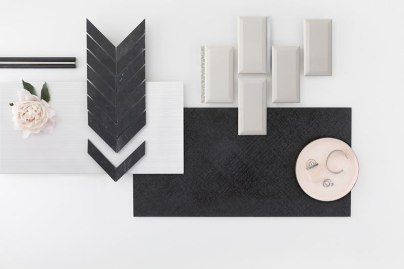 Black and White Textured Harley Lux Tile Set Montage