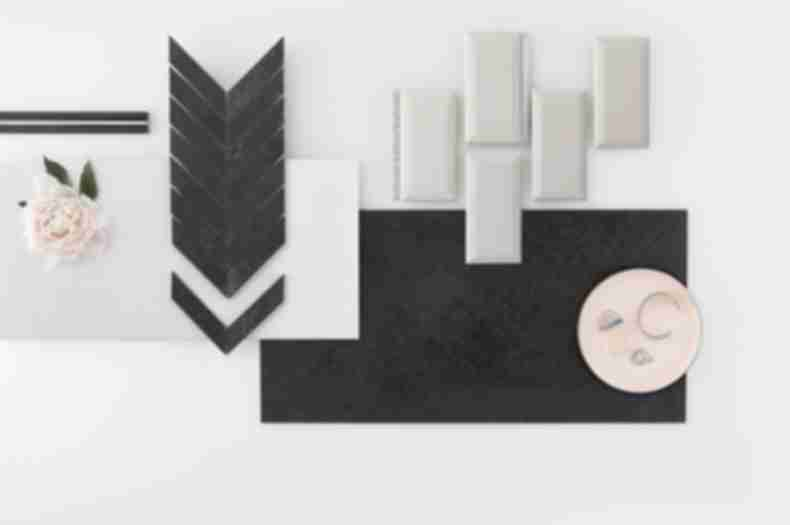 Contemporary yet feminine assortment of black and white tile.