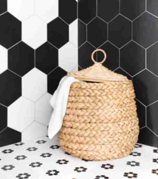 mosaic floor tile hex black white bathroom