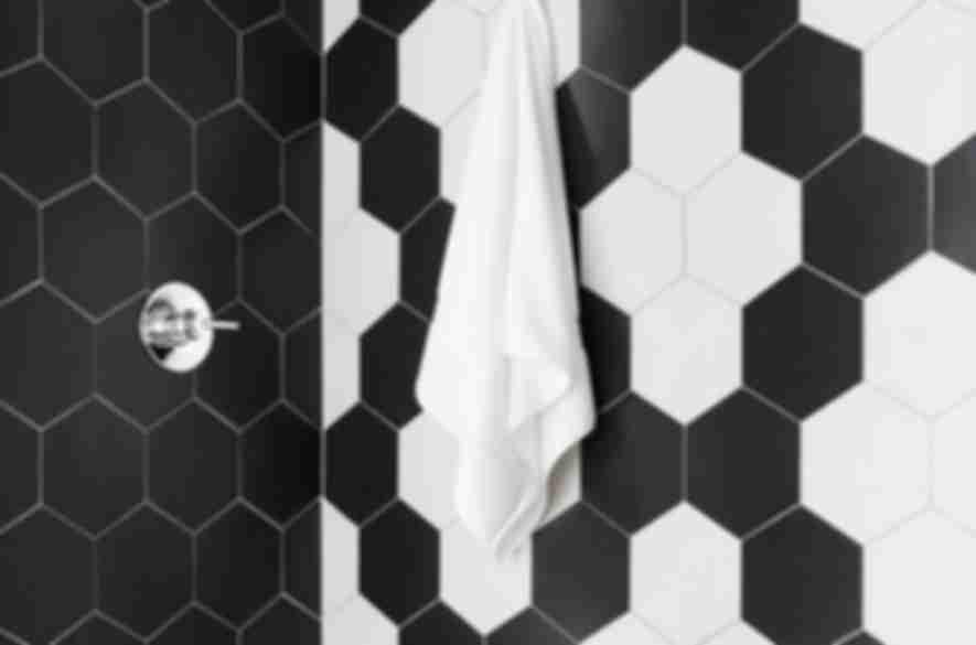 hexagon black and white tiles.
