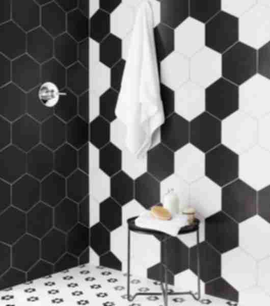 black and white hexagon tiles.