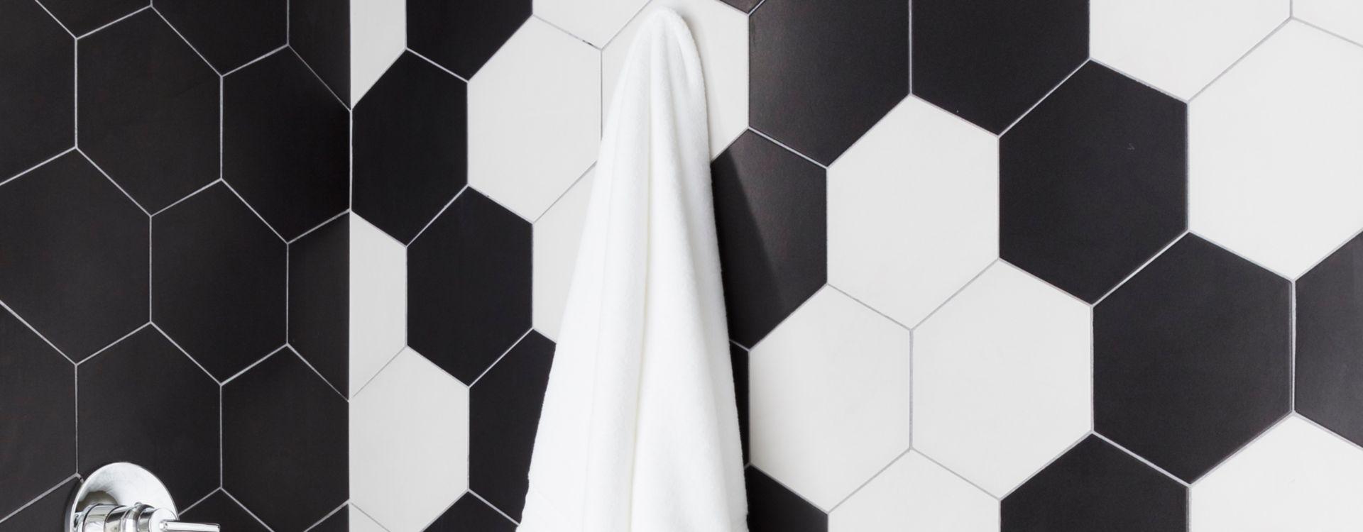 black and white hexagon tiles.
