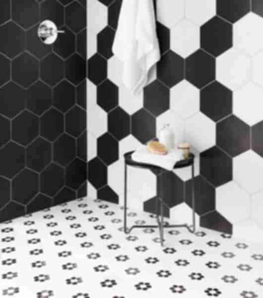 black white mosaic hex shower floor tile