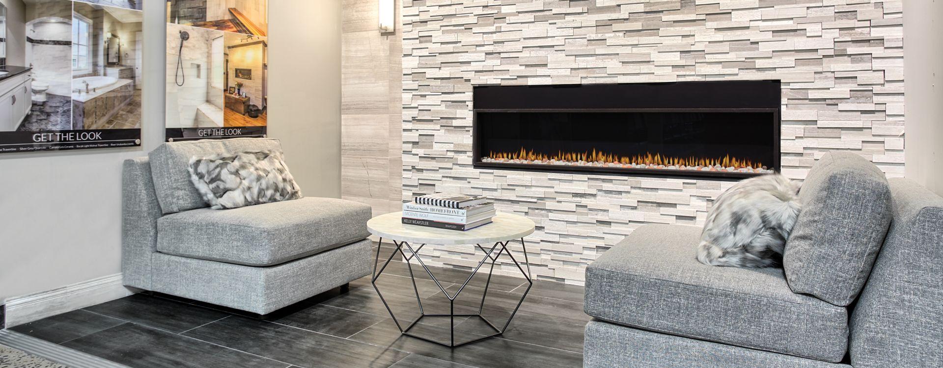 stone backsplash tiles in living room.