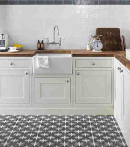 patterned kitchen floor tiles.