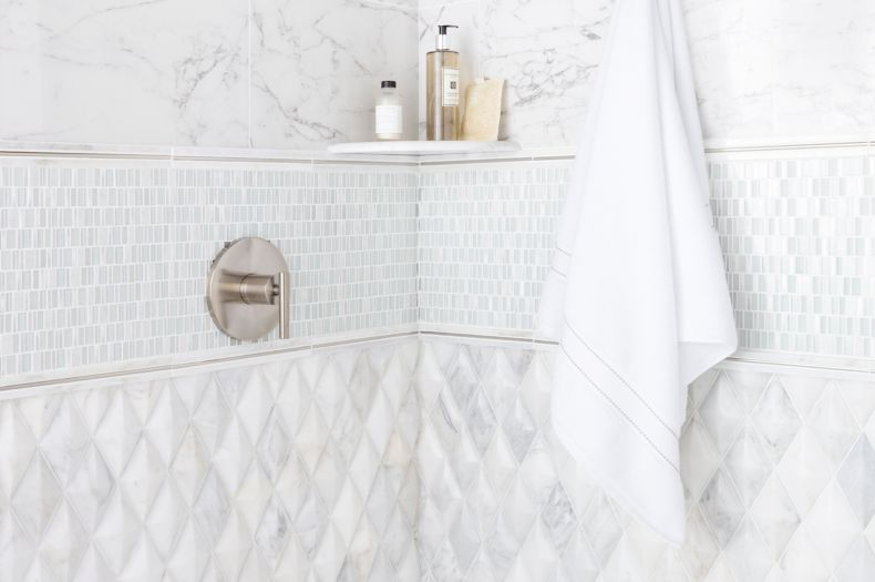 shower tile white marble