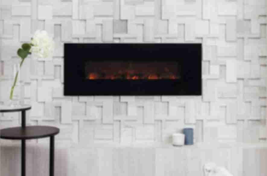 Sculptural limestone fireplace.