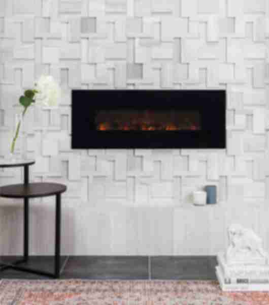 Sculptural limestone fireplace.