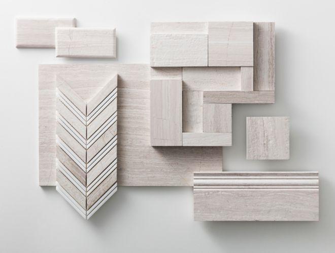 Assortment of legno limestone tile.