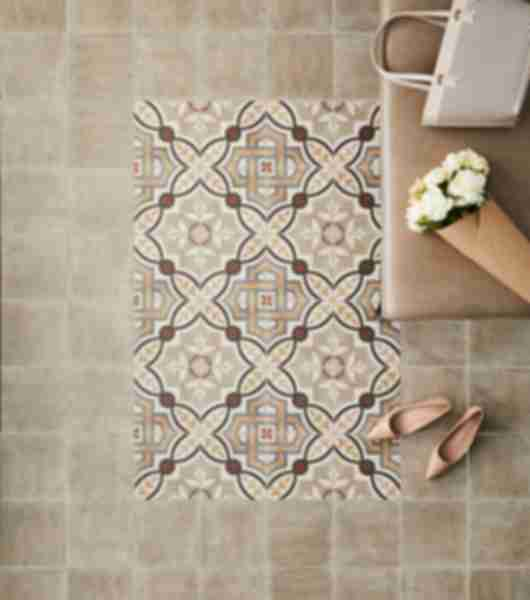 Brown and Tan Patterned Tile Entryway.
