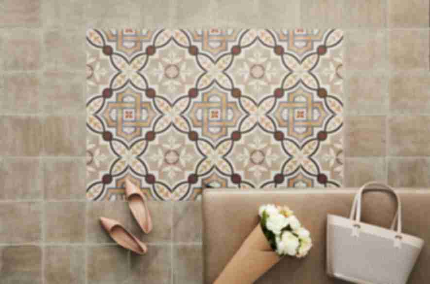 Pattered rug-look floor tile.