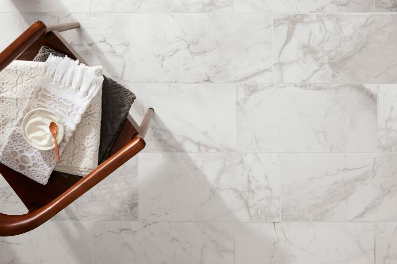 White and Grey Marble Tile Wash Area