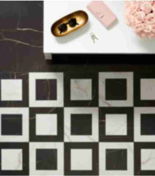 marble look black white floor tile