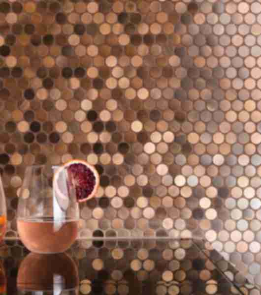 Metal Copper Pennyround Tile Dining Area