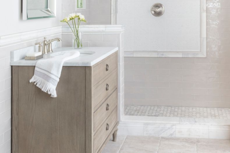 Grey Ceramic Tile in a Transitionally Styled Bathroom