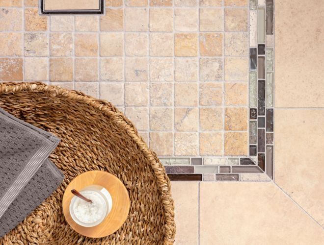 Beige Textured Tile Shower