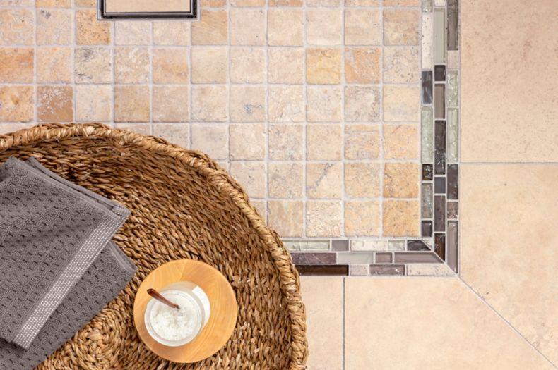 Beige Textured Tile Shower