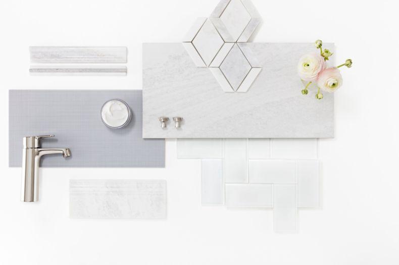 Flat Lay Grey Tile Set Kitchen Montage